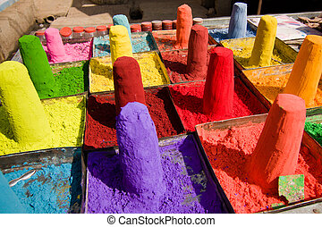 Powder pigments used for festivals - Pushkar, Rajasthan,...