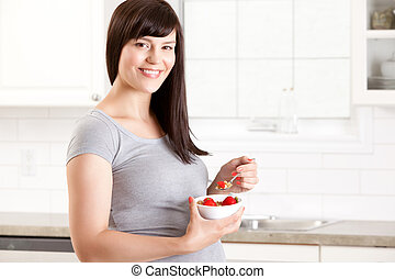 Pregnant Woman Eating Healthy Meal