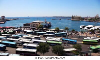 bus and port station time lapse - miniature effect bus and...