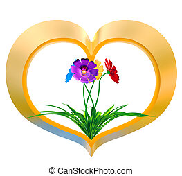 heart with flowers and leaves