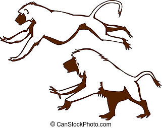 Male Baboon - vector drawing of male baboons running