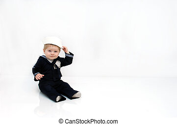 Salute the Troops - Baby boy is wearing a navy, sailor...