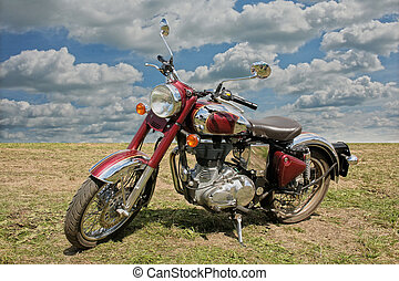 classical red motorcycle - classical red chromeplated...
