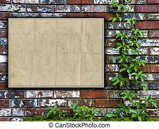 Brick Wall With Bulletin Board - A brick wall with ivy and a...