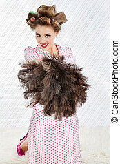 Pretty Woman With Ostrich Feather Duster