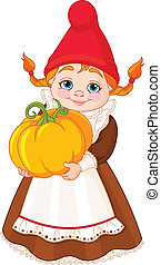 Garden Gnome with pumpkin - Illustration of cute Garden...