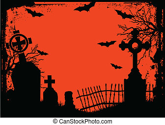 Halloween cemetery - Grunge Halloween cemetery background