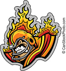 Graphic Vector lmage of a Mean Tough Football Mascot with Flames coming out of Football Helmet
