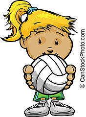 Cartoon Vector Illustration of a Cute Girl Volleyball Player...