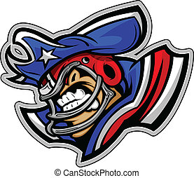 Graphic Vector Sports lmage of a Snarling American Football...