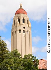 Hoover Tower at Stanford University - A closeup shot of...