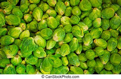 Bin of Brussel Sprouts - A grocery store bin full of fresh...