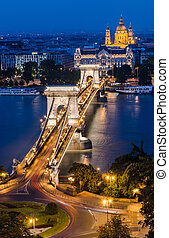 Chain Bridge and Danube in the night, Budapest - The...