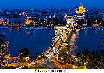 Szechenyi Chain Bridge and Danube river, Budapest - The...