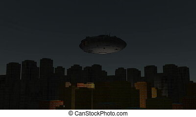 UFO flies over city