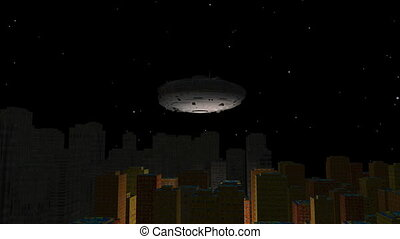 UFO flies over city