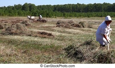 On the farm - Man and woman gather hay in a haystack