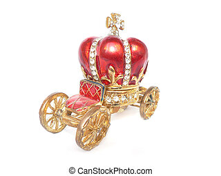 red jewelry box in shape of carriage and corona isolated on...