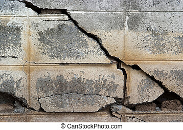 crack at concrete wall , grunge background
