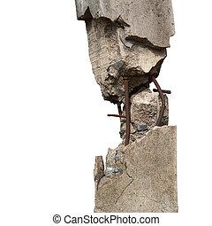 Broken concrete pillars and steel structures seen.