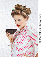 Beautiful Female With Giant Wineglass