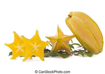 Starfruit, carambola isolated on white background
