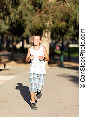 boy runs - boy running in summer park