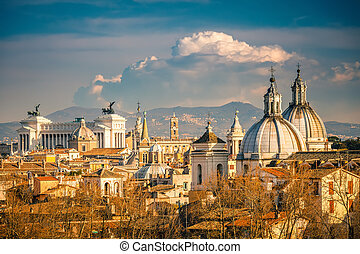Aerial view of Rome - View of Rome from Castel SantAngelo