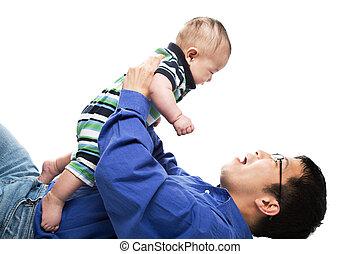 Asiático, pai, filho