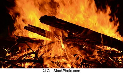 firewood in the night fire flame