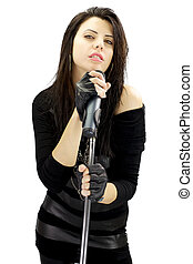 dark rock woman singer with passion