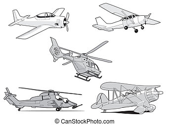 Air set - Set of vector air transport on white background