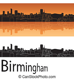 Birmingham skyline in orange background in editable vector...