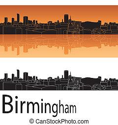 Birmingham skyline in orange background in editable vector...
