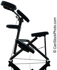 massage therapy with chair - chair massage in silhouette...