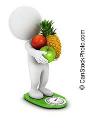3d white people fruit diet on a green scales, isolated white...