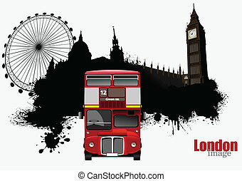 Grunge banner with London and bus images Vector illustration...