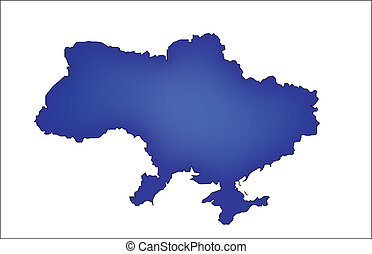 map of Ukraine with countries borders - blue map of Ukraine...