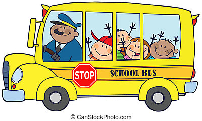 Happy Children On School Bus - School Bus With Happy...