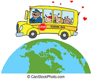 Children On School Bus Around Earth - Happy Children On...