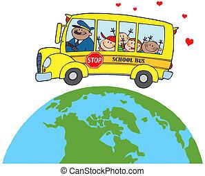 autocarro, escola, crianças, ao redor, terra