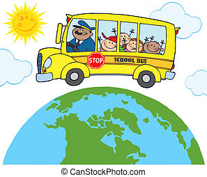 School Bus Around Earth - School Bus With Happy Children...
