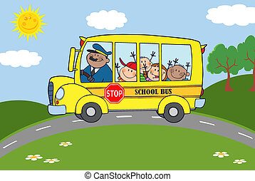 School Bus With Happy Children Traveling To School