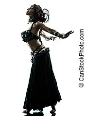 arabic woman belly dancer dancing - one arabic woman belly...
