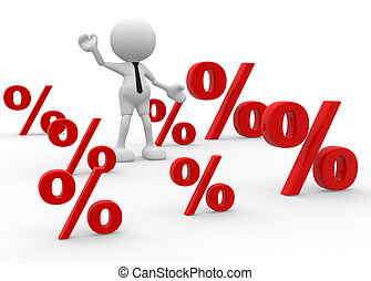 Percent sign - 3d people - man, person with percent sign ....