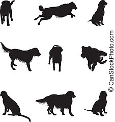 dog silhouette - set of dog silhouettes