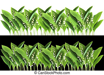 Lily of the Valley border isolated on white and black...