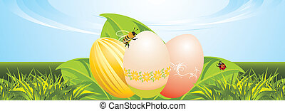 Easter festive banner - Easter eggs, leaves with ladybird...