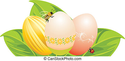 Easter eggs, leaves with bee
