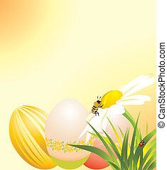 Easter eggs, chamomile with bee